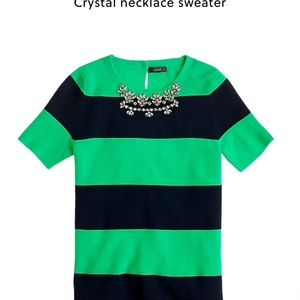 J Crew Crystal Necklace Sweater
